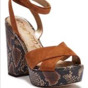 SAM EDELMAN Mara Snakeskin embossed sandal